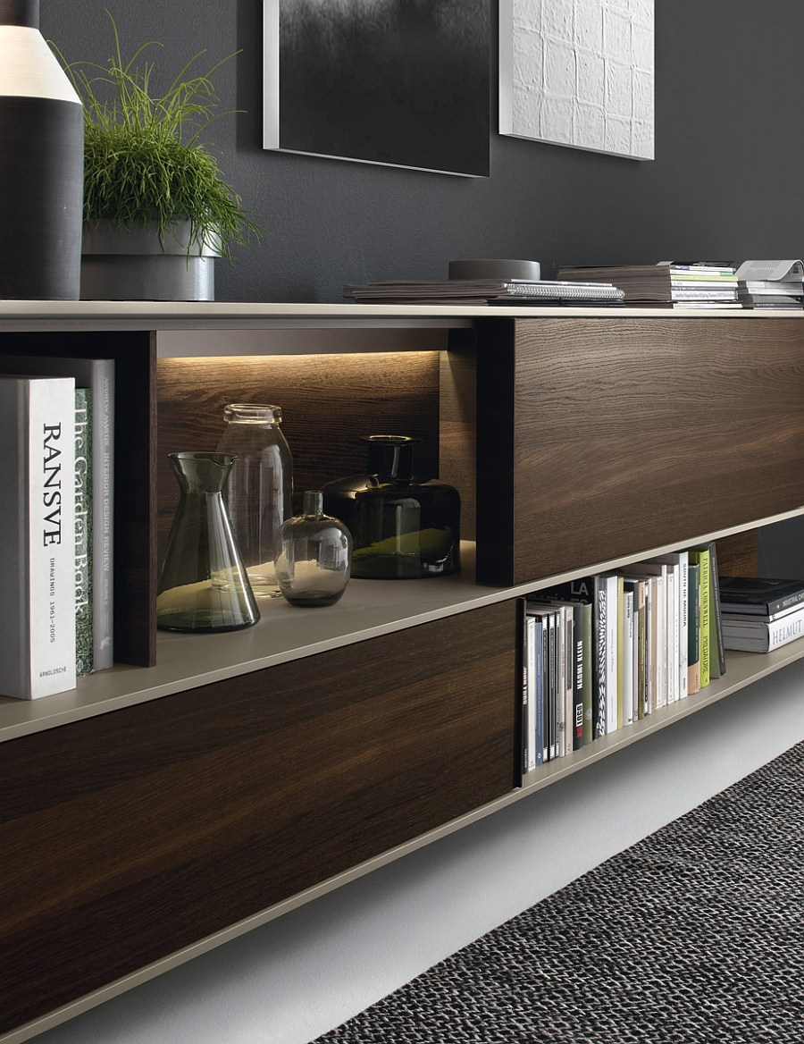 A combination of open shelves and closed cabinets for the wall unit