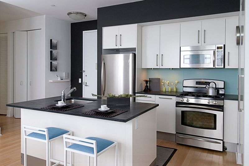 A dash of blue in the black and white kitchen