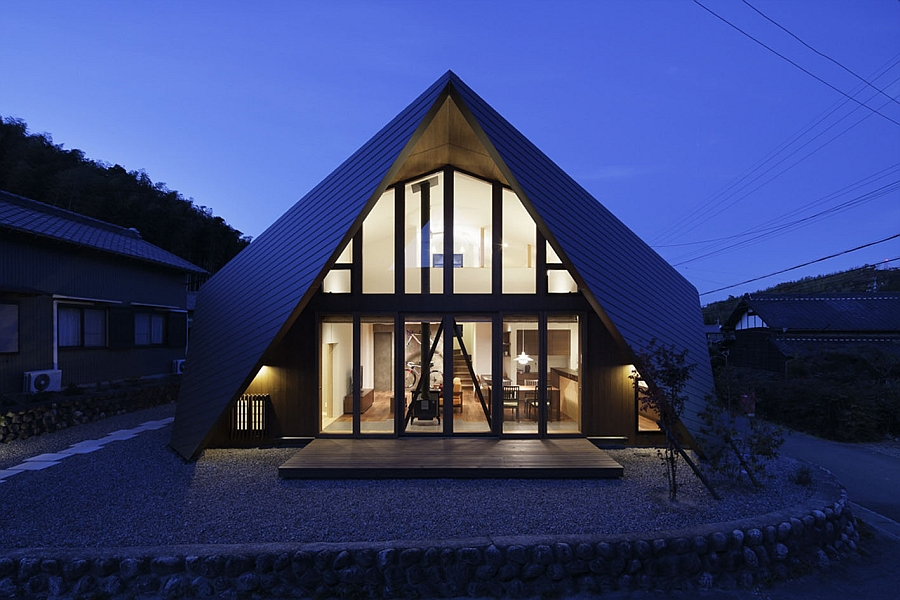 A look at the gorgeous Origami House after sunset