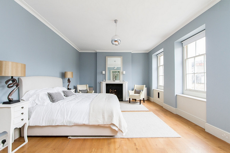 Grayish Blue Paint blue and white interiors: living rooms, kitchens, bedrooms and more
