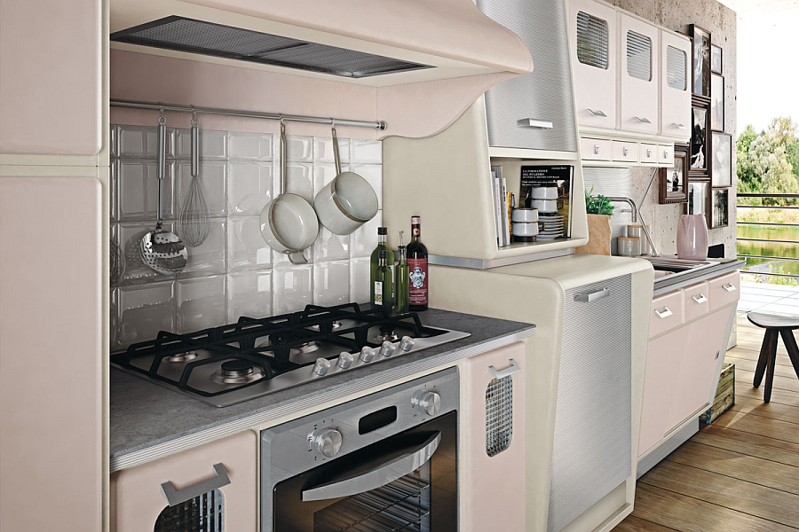 A pot hanger above the stove area and a simple tile backsplash
