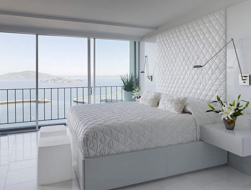 A space-saving addition to the contemporary bedroom in white