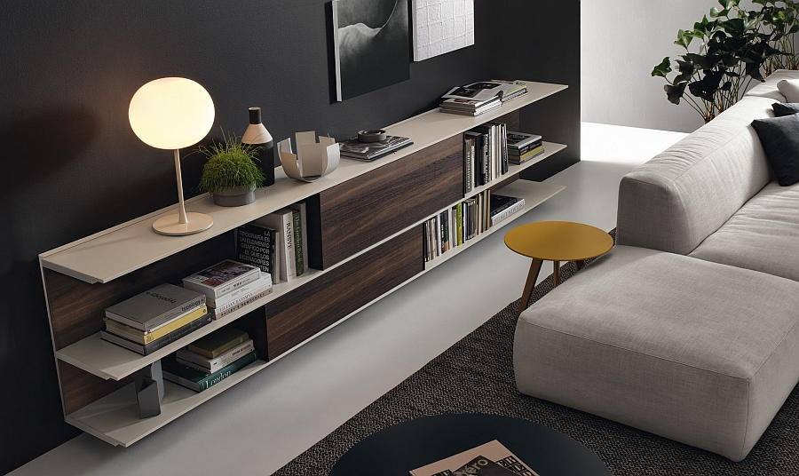 A touch of wooden warmth to the living room wall unit