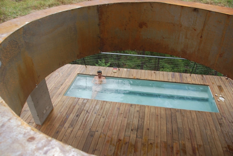 A view of the pool from the natural cut outs in the ceiling