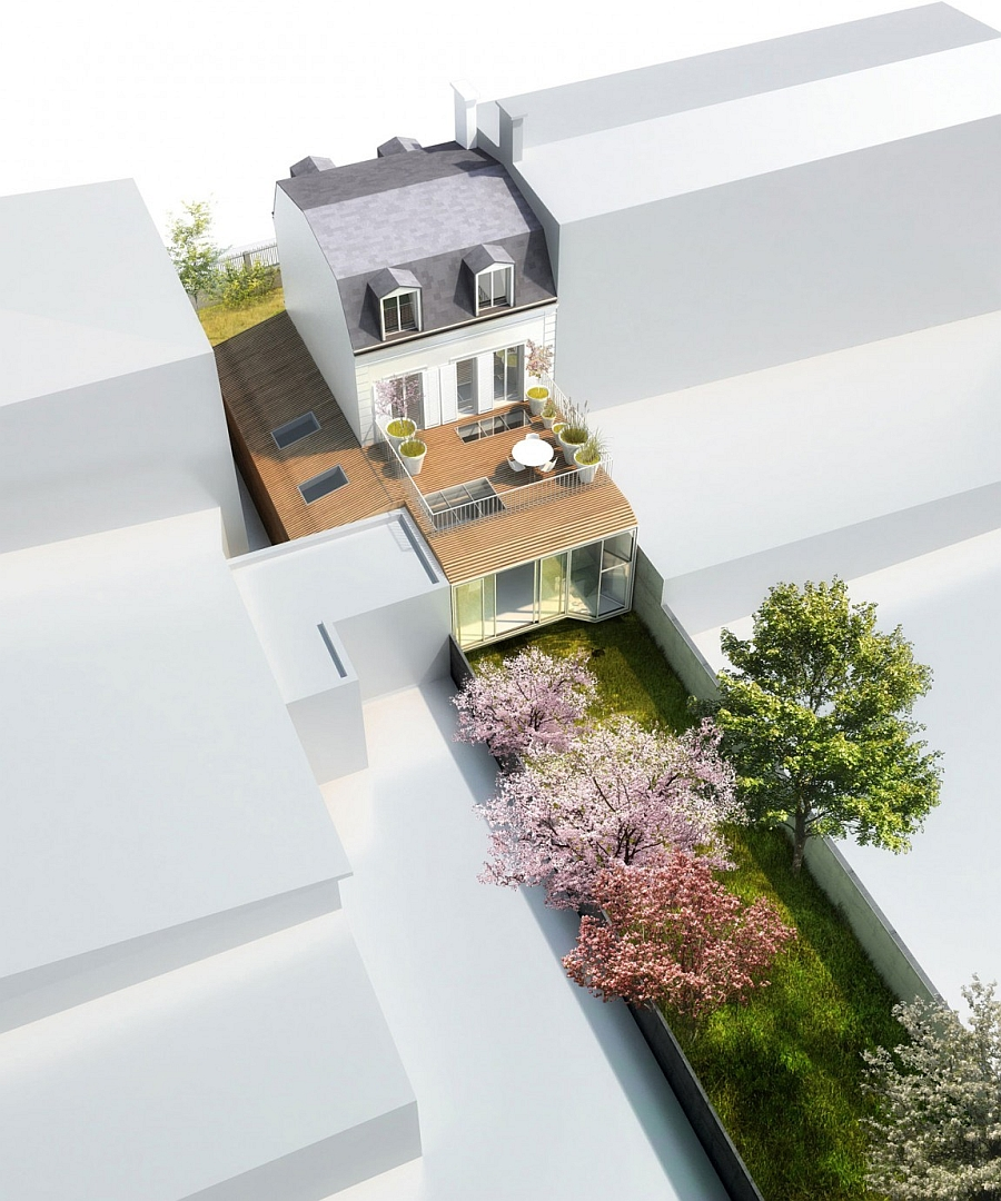 A visualization of the renovation modern project of the house in Vincennes, France