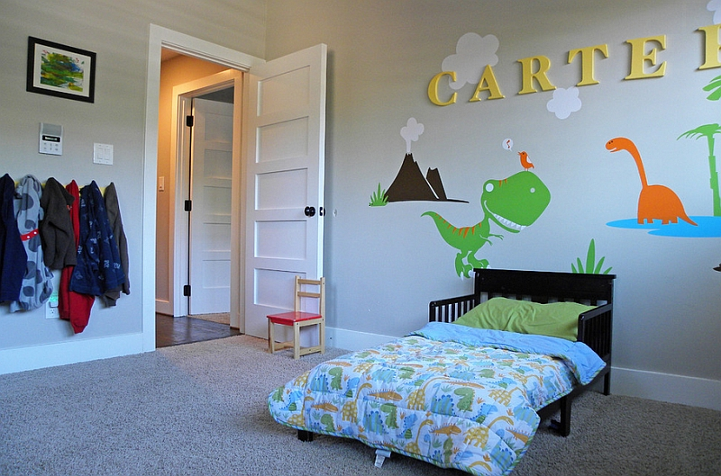 View in gallery Add some color to the kids' bedroom with some dinosaur  themed wall art - Kids Bedrooms With Dinosaur Themed Wall Art And Murals