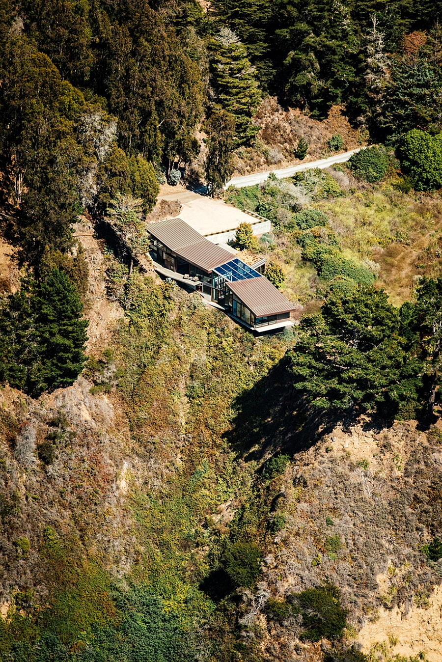 Aerial view of the Buck Creek House in Big Sur, California