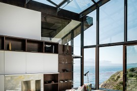 All glass library of the Buck Creek House with Pacific Views