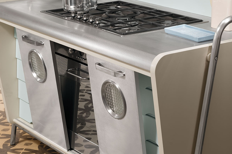 Aluminum and metallic finishes are used extensively in the vintage kitchen