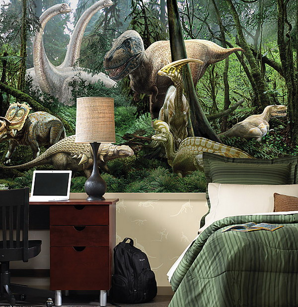 Amazing bedroom brings alive the Jurassic age with the Dinosaur themed wall art