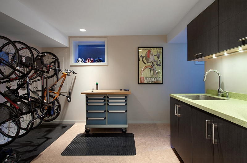 An entry space with a cool bike rack for the cycling enthusiast