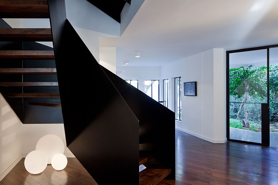 Angular creative staircase inside the house