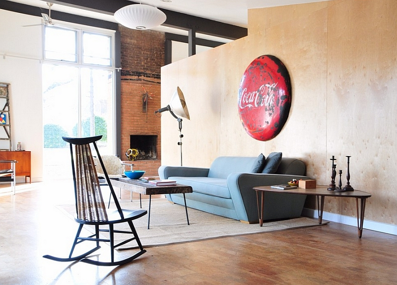 Antique Coca Cola sign adds color and personality to the contemporary space