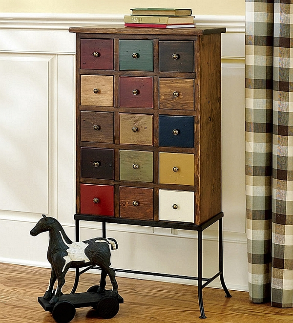 Apothecary Chest adds color to the room