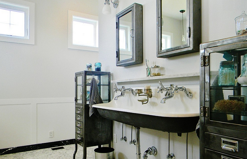 Apothecary cabinets in the Farmhouse style bathroom