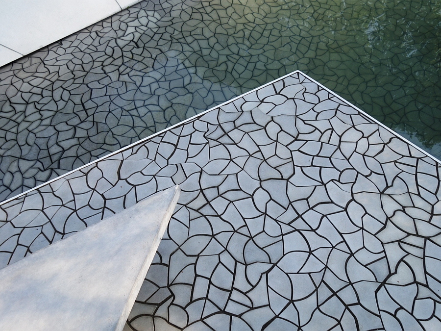 Award winning waterscape garden tile floor at the Chelsea flower show