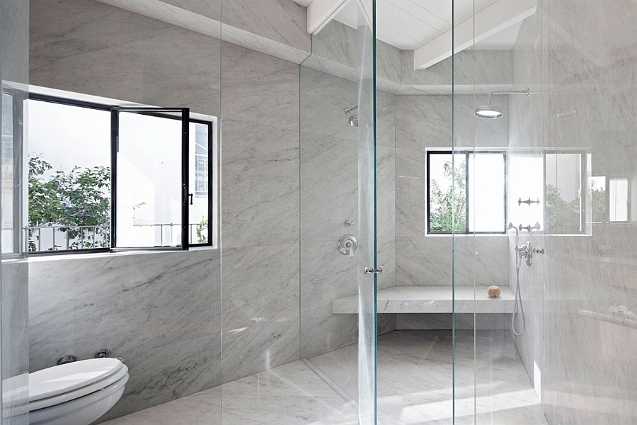 Bathroom and shower area in Marble