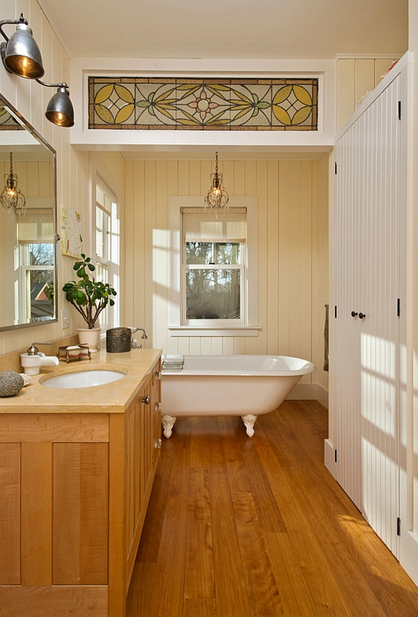 Bathroom with farmhouse style and wooden flooring