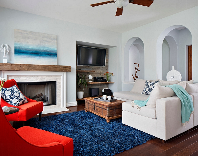 Beach style living room with lovely pops of color