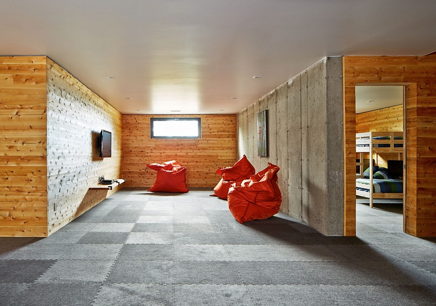 Bean bags add color to the minimal space