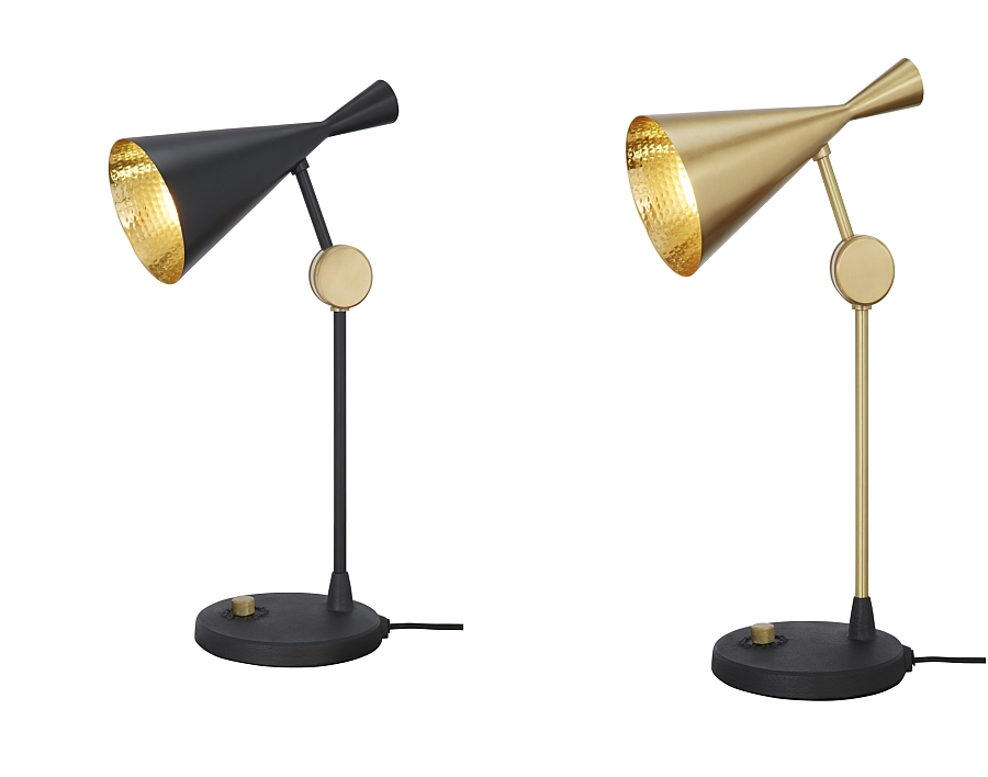 Beat Table Lamp in golden brass and black