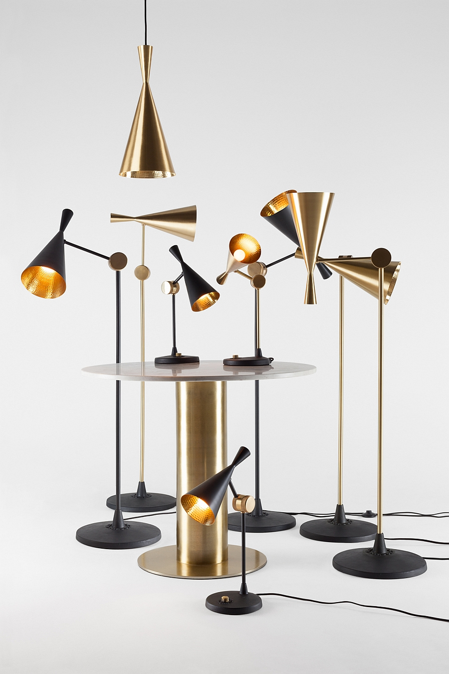 Beat table and floor lamps from Tom Dixon