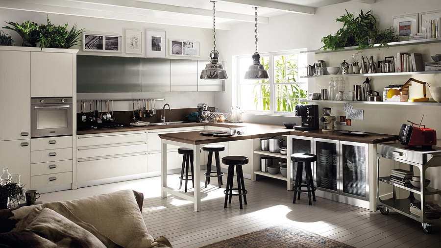 Beautiful contrast between dark and light surfaces in the kitchen