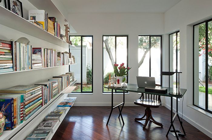 Beautiful home study with ample shelf space