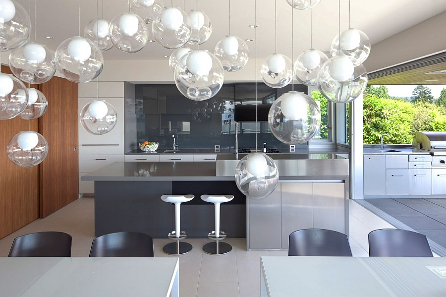 Beautiful pendant lights above the dining space