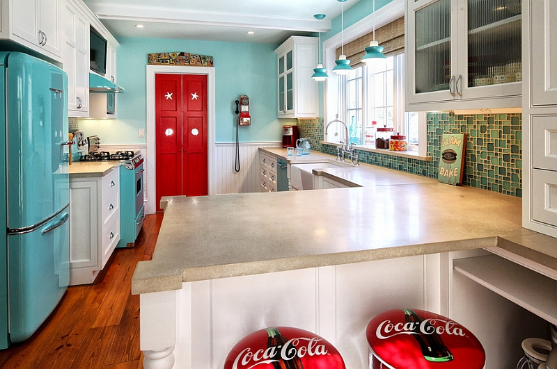 Beautiful retro kitchen with funky Coca cola themed bar stools