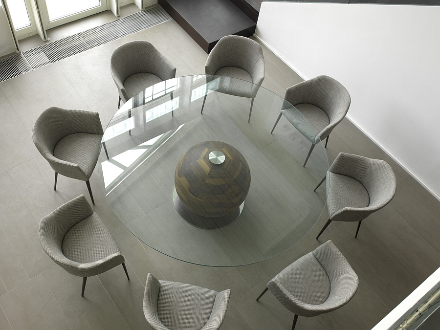 Beautiful round table with a wooden globe base