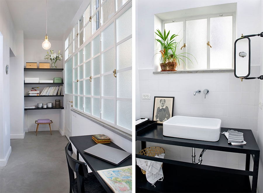 Beautiful study in the corridor and the contemporary bath