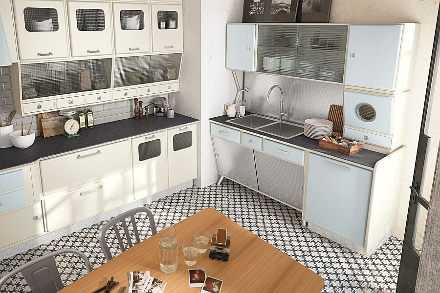 Beautiful vintage kitchen borrows from the design elements of the 50s