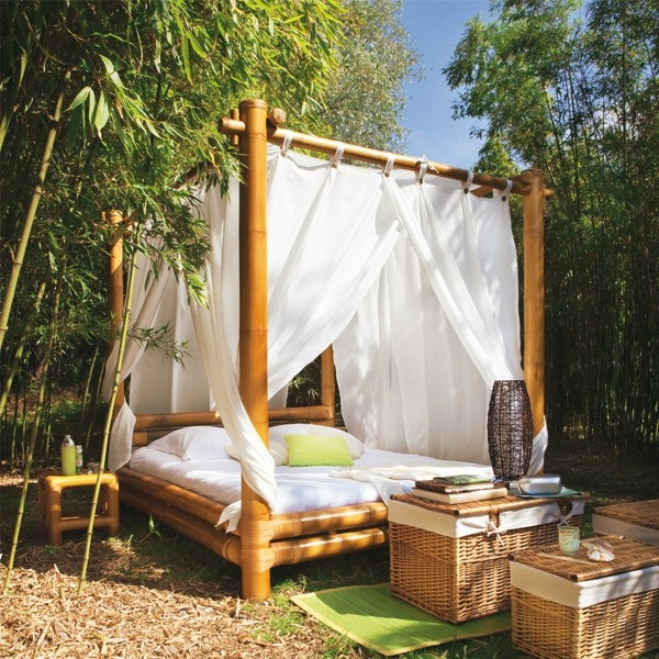 view in gallery becoming one with the landscape thanks to the outdoor bed in bamboo