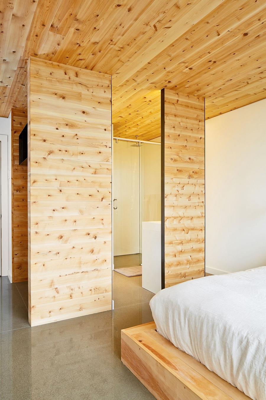 Bedroom walls clad in wood
