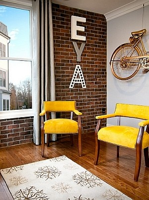 Bike Display Idea With Vintage Gold Bicycle