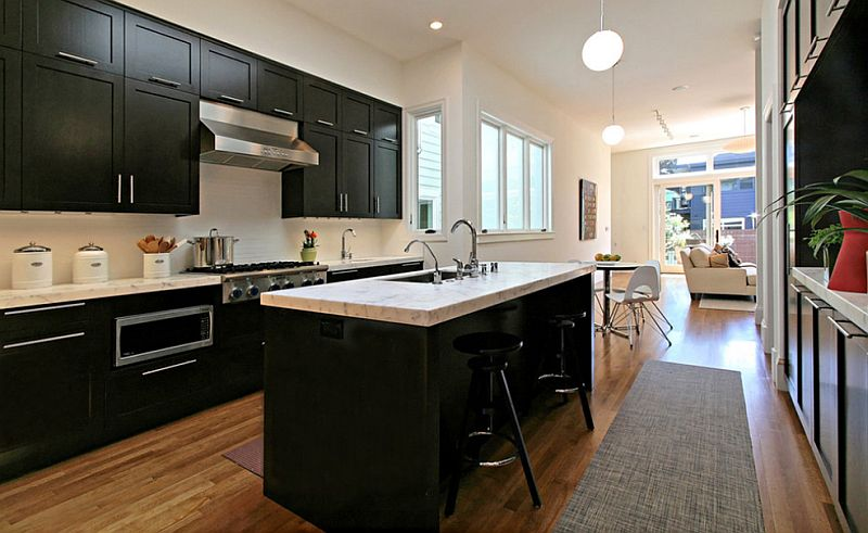 High Quality View In Gallery Black Cabinets And White Marble Countertop In The Kitchen Part 17