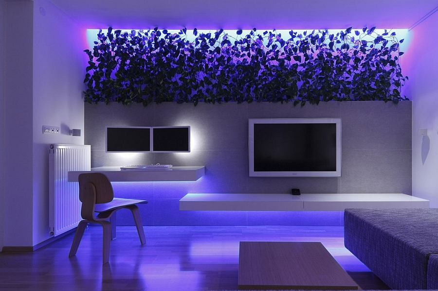 Blue LED lighting for the snazzy modern living room
