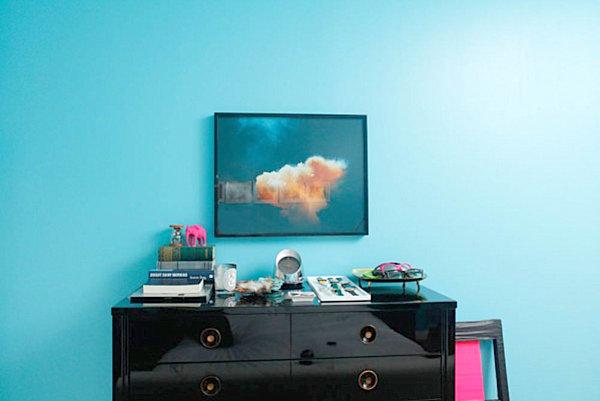 Blue room in the apartment of interior designer Rafael de Cardenas