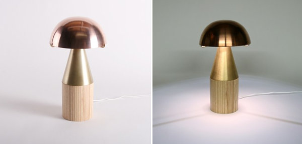Brass, copper and wooden lamp