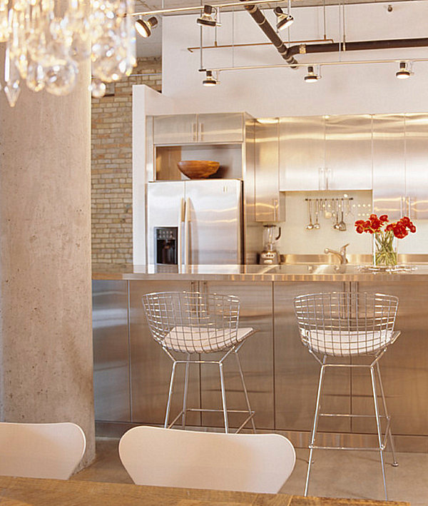 Bright kitchen with a stainless steel island