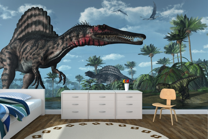 Brilliant 3d dinosaur wall mural for the kids 39 bedroom for Dinosaur themed kids room