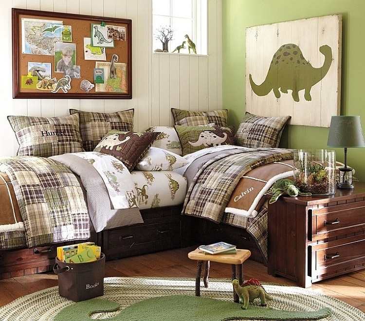 Bring in some green with the Dino wall art and rug