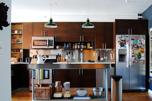 Brooklyn loft kitchen with a stainless steel island