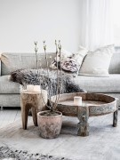 Carved tree trunk table for the rustic living room