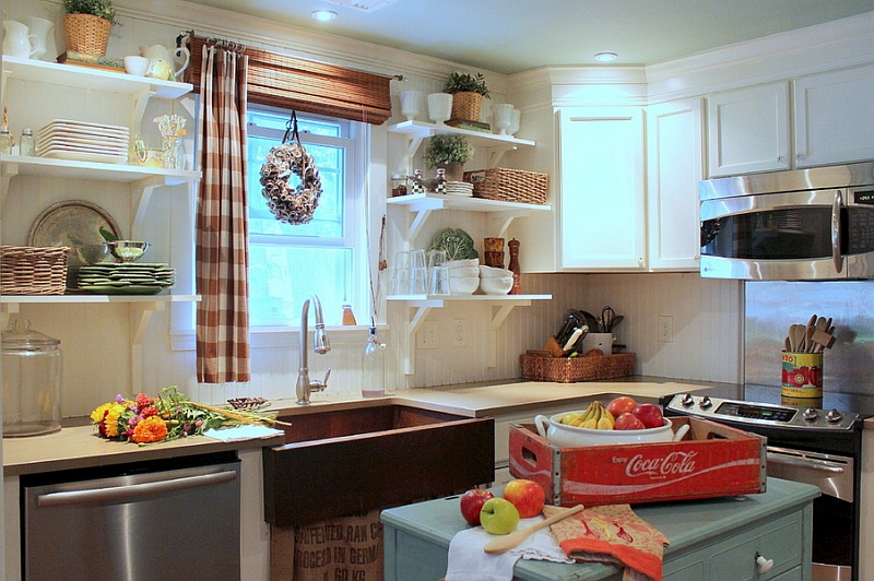 Casually placed Coke crate adds color to this farmhouse style kitchen