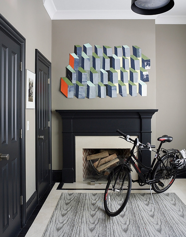 Casually placed bicycle complements the color scheme of the room