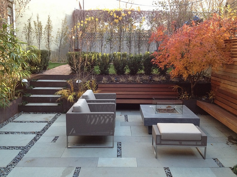 Change in the various levels of the outdoor space need not always be dramatic