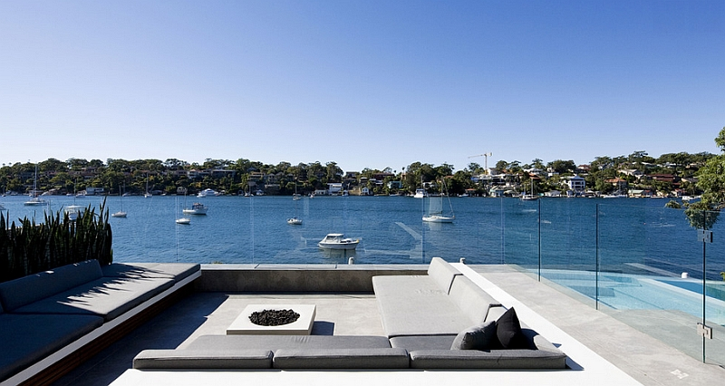Chic patio with sunken seating and amazing views of the Sydney harbor