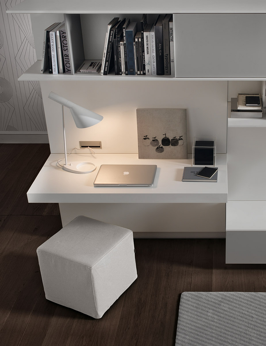 view in gallery chic workspace with a built in desk and cube ottoman for the living room - Design Wall Units